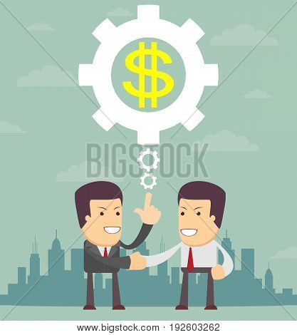 Business Deal, Collaboration, Partnership. idea concept. Two businessman handshaking. Flat style vector illustration