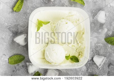 Mint Ice Cream In Bowl On A Gray Background. Top View. Food Background