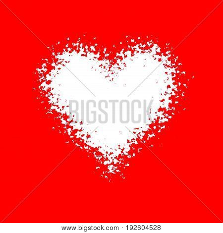 Bright red abstract deformed background design with white deformed heart