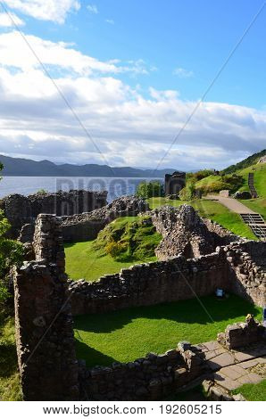 Stone ruins of Urquhart Castle in the Scottish Highlands.