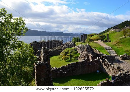 Urquhart Castle ruins beside Loch Ness in Scotland.