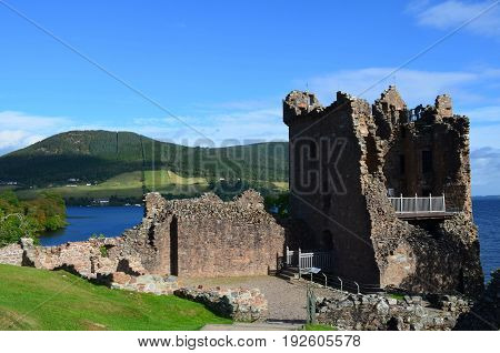 Stone ruins of Urquhart Castle's tower in Scotland.