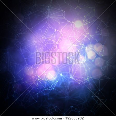 Abstract techno low poly background with connecting dots