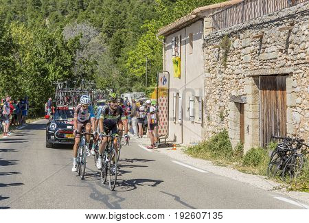 Mont Ventoux France - July 142016: Group cyclists riding on the road to Mont Ventoux during the stage 12 of Tour de France 2016.