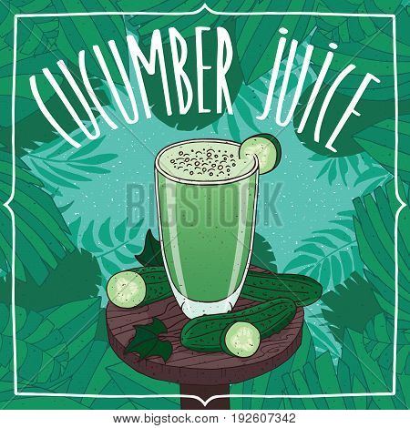Fresh Cucumber Juice In Glass With Ripe Fruits