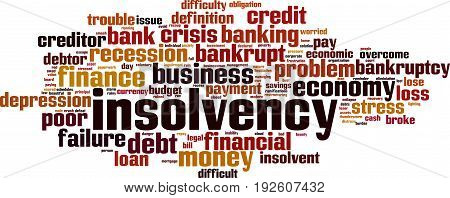 Insolvency word cloud concept. Vector illustration on white