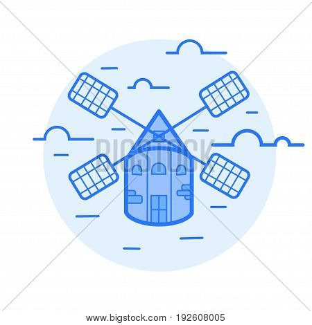 wind mill vector illustration of icon blue.