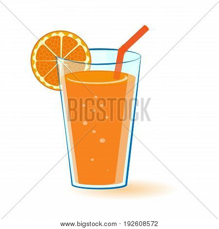 Vector illustration of a glass of orange juice with orange slice and a straw.