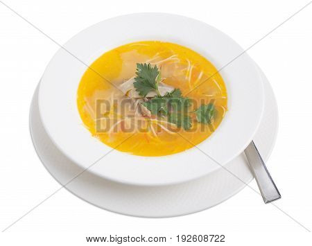 Chicken soup with noodles, carrot and parsley. Isolated on a white background.