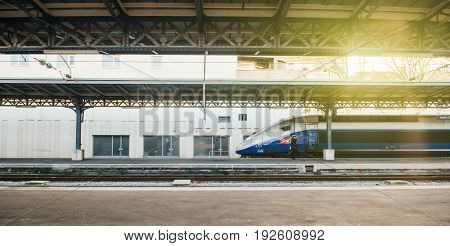 PARIS FRANCE - MAR 2 2017: TGV train a grande vitesse in Paris Central train station. TGV (Train a Grande Vitesse high-speed train) is France's intercity high-speed rail service operated by SNCF the national rail operator
