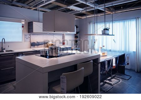 PARIS FRANCE - OCT 21 2016: Luxury kitchen furniture and kitchen appliances in the modern IKEA shopping furniture mall in Paris