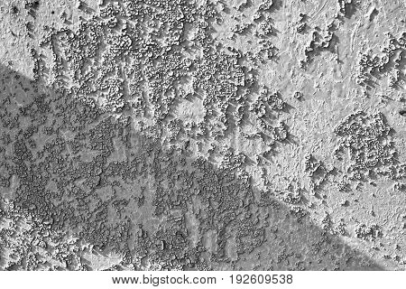 The Old Worn Metal Surface In The Paint. Black And White Photo. Rusty Metal Texture. Metal Sheet Wit