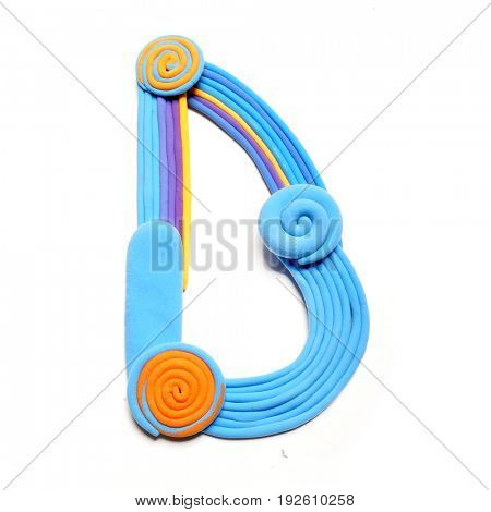 Plasticine letter D. Color plasticine alphabet, isolated. Blue and orange color of the alphabet