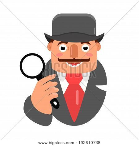 character design of a detective vector illustration.