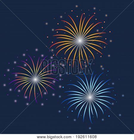 Vector colorful Firework illustration on dark background, selebration concept