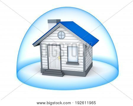Home and protect. Symbol insurance. 3d illustration