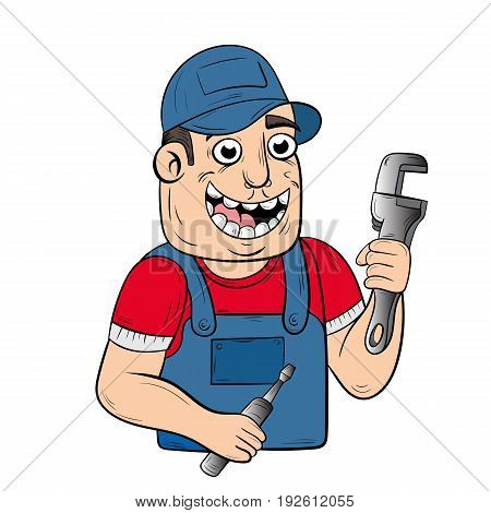 happy handyman cartoon. vector. the design of the character.