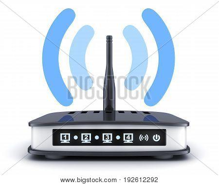 Transmitter wi-fi on white background. 3d illustration