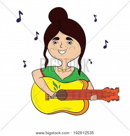 happy cartoon girl playing the guitar vector illustration