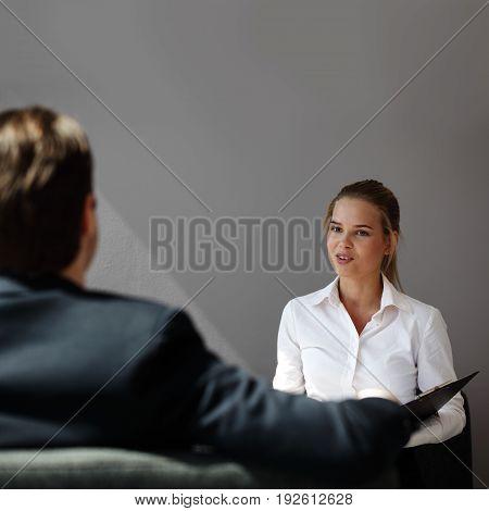 Job businss interview - businessman listen to candidate answers