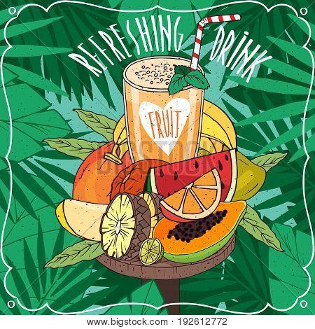 Fresh Orange Juice With Many Tropical Fruits
