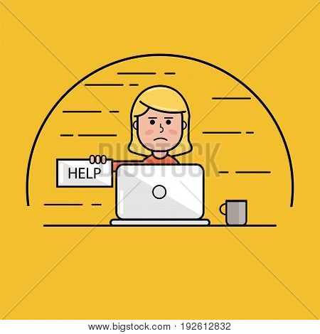 girl asks for help, computer issues vector illustration icon.