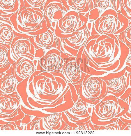 Tender white outline roses seamless pattern. Vector illustration