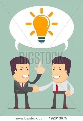 Two businessmen shake hands for a deal, light bulb. Business idea concept. vector illustration in flat design on background