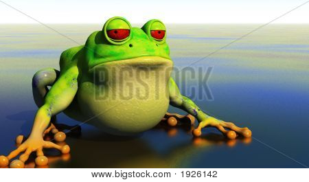 3d frog illustration on shallow reflective pond poster