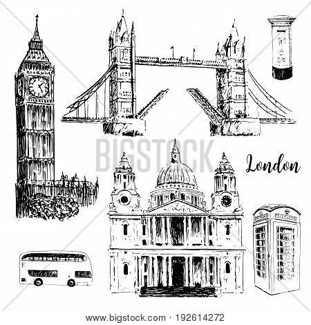 London architectural symbols: Big Ben Tower Bridge bus mail box call box. St. Paul Cathedral. Beautiful hand drawn vector sketch illustration. For prints textile advertising City panorama