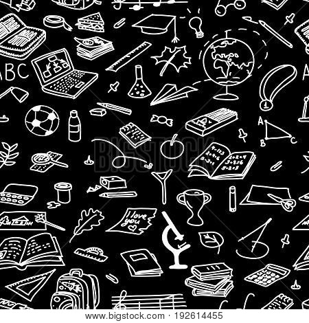 Chalk board style. back to school seamless pattern set. magnifying medal microscope music notebook paints paper paperclip pen pencil pin plane. Text For decoration hand drawn. sketch doodle