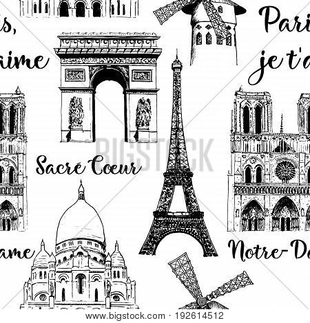 Set of Paris symbols. Eiffel tower Notre Dame Arc de Triomphe Basilica of Sacre Coeur Moulin Rouge. Vector hand drawn sketch seamless pattern illustration. City panorama. France. architecture