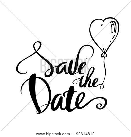 Save the date text calligraphy lettering for wedding or love card