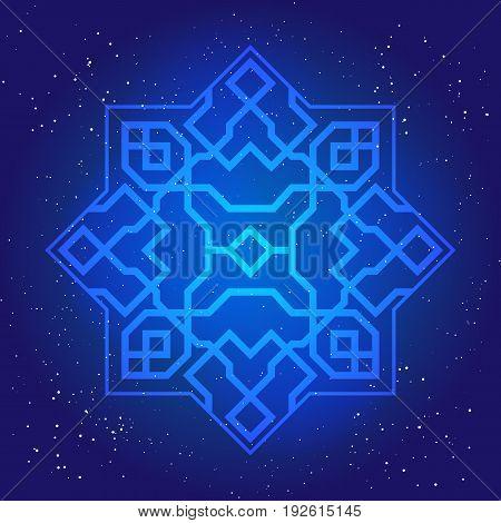 Sacral geometry figure in cosmic sky. Arabesque in oriental vintage design 3d.