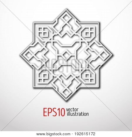 Oriental 3d vector pattern with arabesques. Vintage design in eastern style. Sacral geometry ornament.