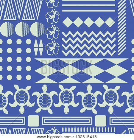 Hawaiian culture ethnic ornament seamless vector pattern. Blue and white tileable tribe background with triangles, lines and turtle elements.