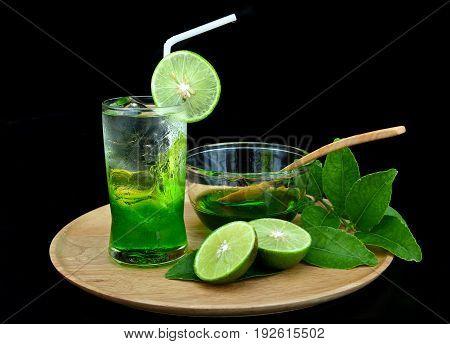 Fresh Green Lemon Syrup On Ice