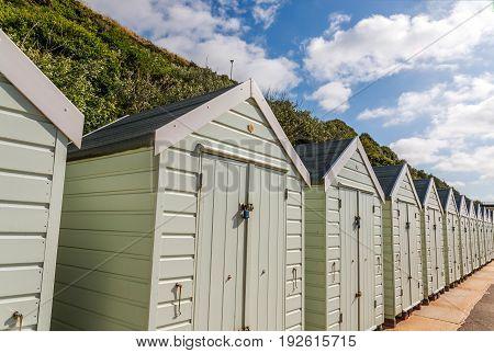 White Houses On The Beach, Whitel Door To Summer Cottages, Seaside Spot