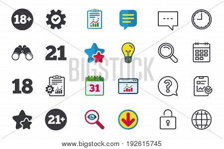 Adult content icons. Eighteen and twenty-one plus years sign symbols. Chat, Report and Calendar signs. Stars, Statistics and Download icons. Question, Clock and Globe. Vector