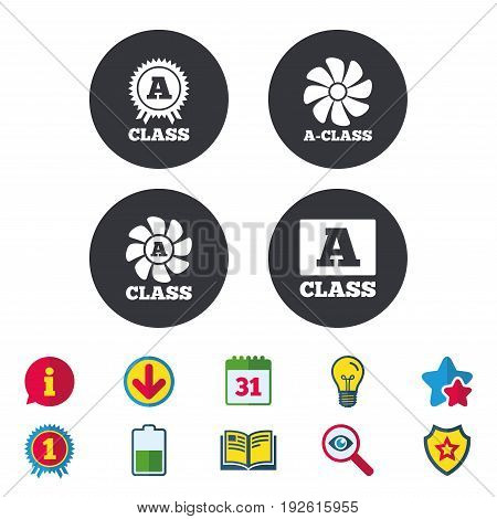 A-class award icon. A-class ventilation sign. Premium level symbols. Calendar, Information and Download signs. Stars, Award and Book icons. Light bulb, Shield and Search. Vector
