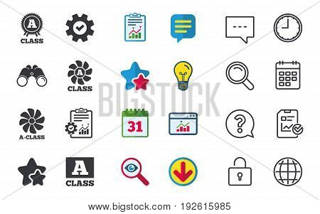 A-class award icon. A-class ventilation sign. Premium level symbols. Chat, Report and Calendar signs. Stars, Statistics and Download icons. Question, Clock and Globe. Vector