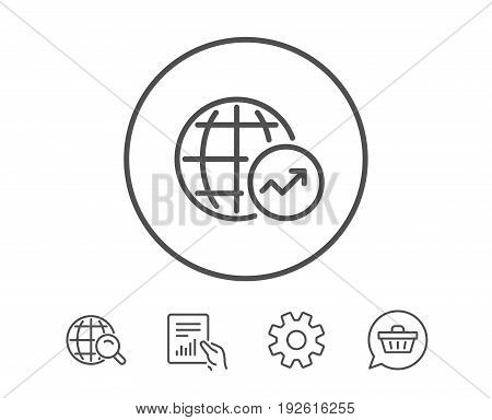 World Statistics line icon. Report chart or Sales growth sign. Data Analysis graph symbol. Hold Report, Service and Global search line signs. Shopping cart icon. Editable stroke. Vector