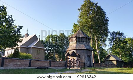 Paluse wooden church in the Aukstaitija National Park in Lithuania.The church of Paluse built in 1750 is considered to be the oldest surviving wooden church in Lithuania