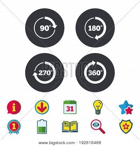 Angle 45-360 degrees circle icons. Geometry math signs symbols. Full complete rotation arrow. Calendar, Information and Download signs. Stars, Award and Book icons. Light bulb, Shield and Search