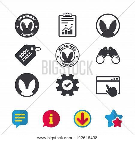 No animals testing icons. Non-human experiments signs symbols. Browser window, Report and Service signs. Binoculars, Information and Download icons. Stars and Chat. Vector