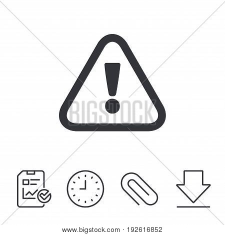 Attention sign icon. Exclamation mark. Hazard warning symbol. Report, Time and Download line signs. Paper Clip linear icon. Vector