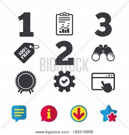 First, second and third place icons. Award medal sign symbol. Browser window, Report and Service signs. Binoculars, Information and Download icons. Stars and Chat. Vector