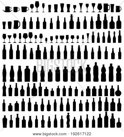 vector set of bottles and glasses isolated on white