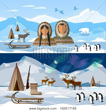 Wild north arctic banner people in traditional eskimos costume and arctic animals. Life in the far north. Reindeer polar day and polar night. Extreme journey to Alaska