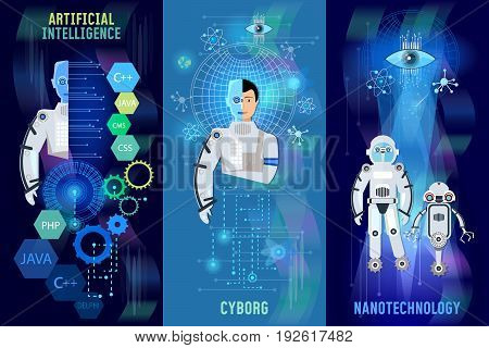 Future technology banner robots cyborg artificial intelligence people and computers microchips nanotechnologies programming of robots
